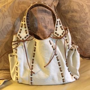 New Kooba canvas w/leather lacing  Jackie bag